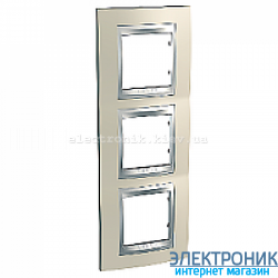 Рамка 3-я вертикальная Schneider Electric Unica Top Титановый/Алюминий