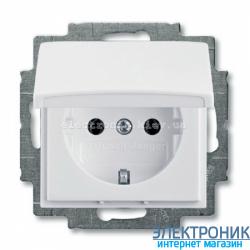 Розетка SCHUKO с крышкой ABB Basic 55 белый