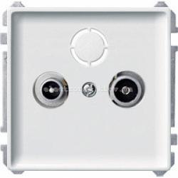 Розетка TV проходная Merten System Design полярно-белый