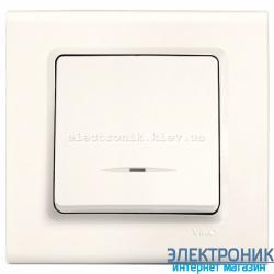 Выключатель с подсветкой одноклавишный VIKO Linnera Крем