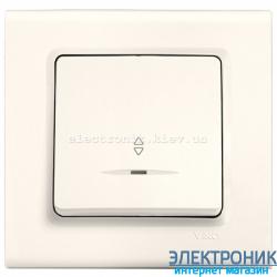Выключатель проходной с подсветкой одноклавишный VIKO Linnera Крем