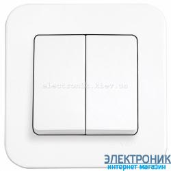 Выключатель двухклавишный VIKO Rollina Белый (90420002)