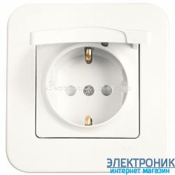 Розетка с крышкой и защитными шторками ТВ VIKO Rollina (с заземлением) КРЕМ (90420012)
