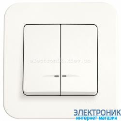 Выключатель с подсветкой двухклавишный VIKO Rollina КРЕМ (90420050)