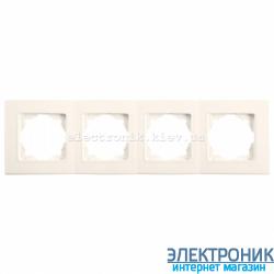 Четверная горизонтальная рамка VIKO Linnera Крем