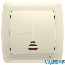 VIKO CARMEN КРЕМ Выключатель двойной с подсветкой