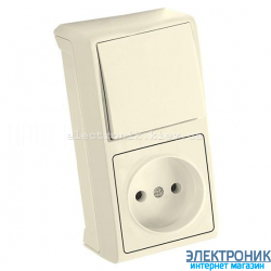 VIKO VERA КРЕМ Блок вертикальный ВЫКЛЮЧАТЕЛЬ+РОЗЕТКА