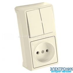 VIKO VERA КРЕМ Блок вертикальный ВЫКЛЮЧАТЕЛЬ ДВОЙНОЙ+РОЗЕТКА