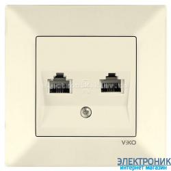 VIKO MERIDIAN КРЕМ Розетка двойная телефонная (2хRJ11, Cat3)