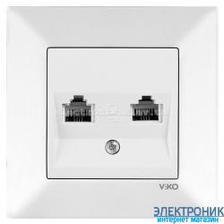 VIKO MERIDIAN БЕЛЫЙ Розетка двойная телефонная (2хRJ11, Cat3)