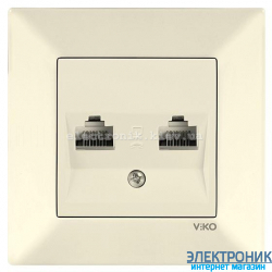 VIKO MERIDIAN КРЕМ Розетка двойная компьютерная (2хRJ45  Cat5e)
