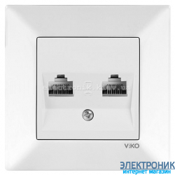 VIKO MERIDIAN БЕЛЫЙ Розетка двойная компьютерная (2хRJ45  Cat5e)