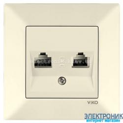 VIKO MERIDIAN КРЕМ Розетка комплексная (компьютерная+телефонная) (RJ45-RJ11, Cat5e-Cat3)
