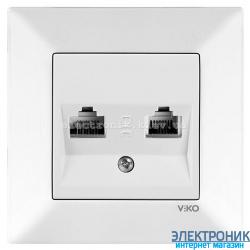 VIKO MERIDIAN БЕЛЫЙ Розетка комплексная (компьютерная+телефонная) (RJ45-RJ11, Cat5e-Cat3)