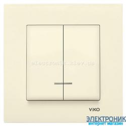 VIKO KARRE КРЕМ Выключатель двойной с подсветкой