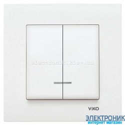 VIKO KARRE БЕЛЫЙ Выключатель двойной с подсветкой