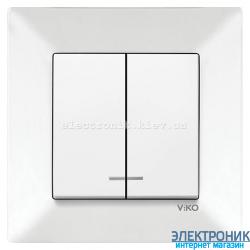 VIKO MERIDIAN БЕЛЫЙ Выключатель двойной с подсветкой