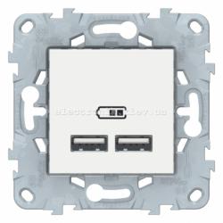 Розетка USB 2-ая (для подзарядки), Белый, серия Unica New