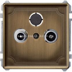 Розетка TV проходная Merten System Design Античная латунь