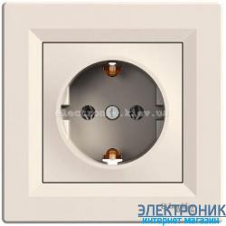 Розетка Schneider-Electric Asfora с заземлением кремовая
