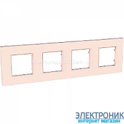 Рамка четырехместная Schneider (Шнайдер) Unica Quadro Pearl Розово-жемчужный