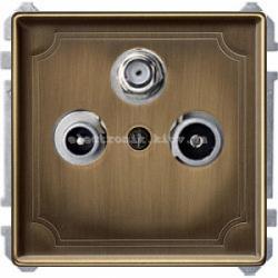 Розетка TV/R+SAT оконечная Merten System Design Античная латунь