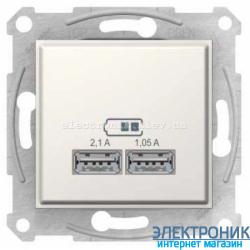 Розетка Schneider-Electric Sedna с USB выходами для зарядки , цвет слоновая кость