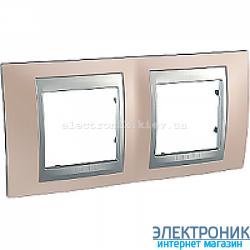 Рамка 2-я горизонтальная Schneider Electric Unica Top Оникс медный/Алюминий