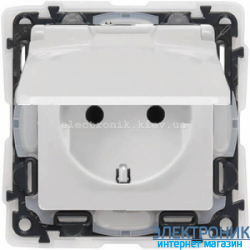 Розетка электрическая с заземлением, крышкой и шторками ip44 Legrand Valena Life (белый)