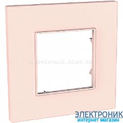 Рамка одноместная Schneider (Шнайдер) Unica Quadro Pearl Розово-жемчужный