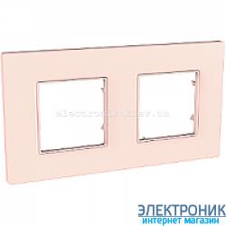 Рамка двухместная Schneider (Шнайдер) Unica Quadro Pearl Розово-жемчужный