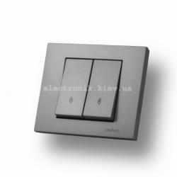 Выключатель двухклавишный проходной Grano серебро