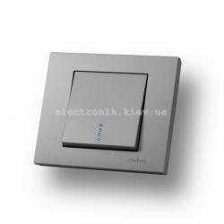 Выключатель одноклавишный с подсветкой Grano серебро