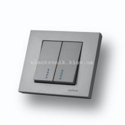 Выключатель двухклавишный с подсветкой Grano серебро