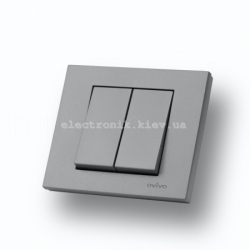 Выключатель двухклавишный Grano серебро