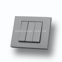 Выключатель трехклавишный Grano серебро