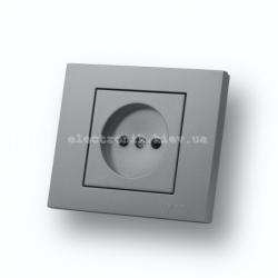 Розетка без заземления Grano серебро