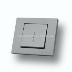 Выключатель проходной с подсветкой Grano серебро