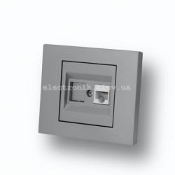 Розетка компьютерная (разъем RJ45 CAT 6) Grano серебро