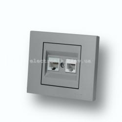 Розетка компьютер + телефон (разъемRJ45 CAT 6+RJ 11) Grano серебро