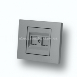 Розетка компьютерная (без коннектеров) Grano серебро