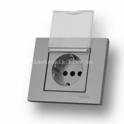 Розетка с заземлением с крышкой с защитой от детей Grano серебро