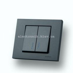 Выключатель двухклавишный с подсветкой Grano дымчатый