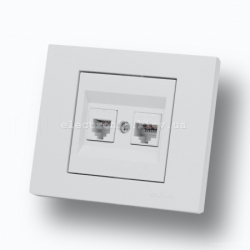 Розетка компьютер + телефон (разъемRJ45 CAT 6+RJ 11) Grano
