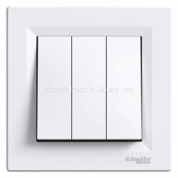 Выключатель Schneider (Шнайдер) Asfora 3-клавишный белый