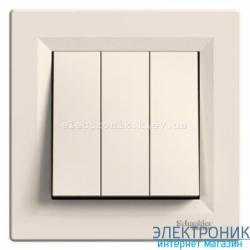Выключатель Schneider (Шнайдер) Asfora 3-клавишный кремовый
