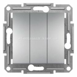 Выключатель Schneider (Шнайдер) Asfora Plus 3-клавишный алюминий