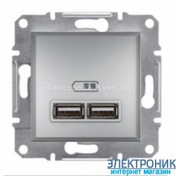 Розетка Schneider (Шнайдер) Asfora USB двойная  2,1A алюминий