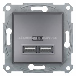 Розетка Schneider (Шнайдер) Asfora USB двойная  2,1A сталь
