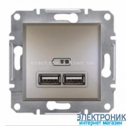 Розетка Schneider (Шнайдер) Asfora USB двойная  2,1A бронза